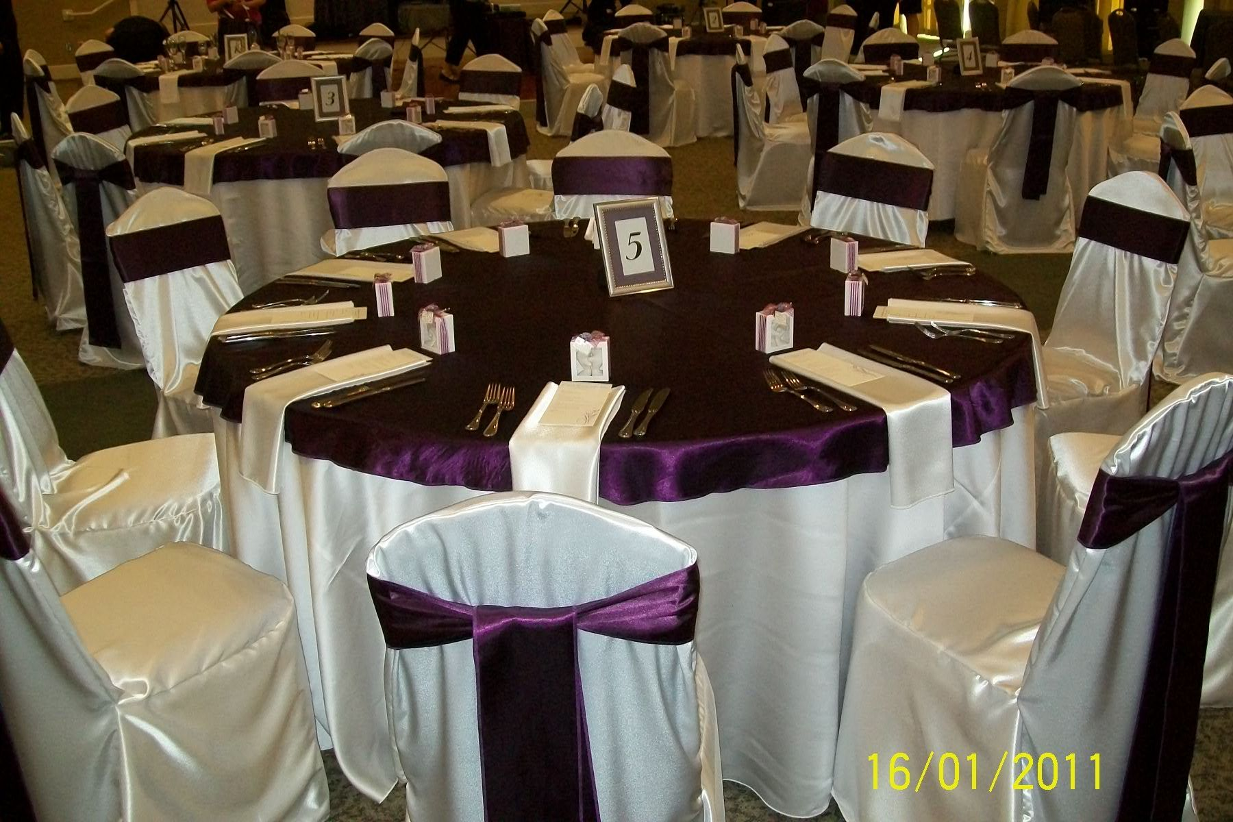 wedding chair covers orlando dining room ireland ivory satin base linen with eggplant plum quotcap