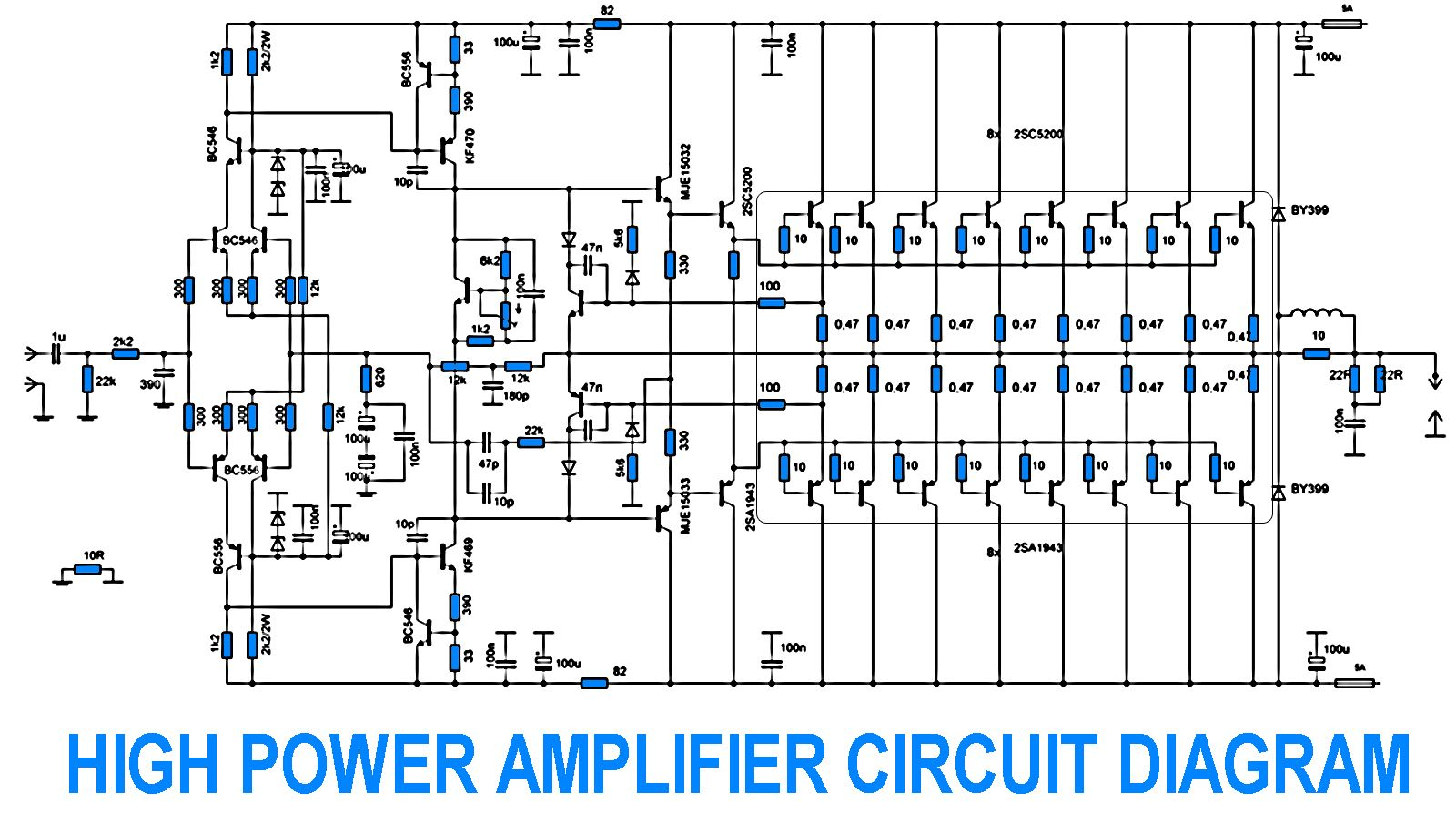 hight resolution of 2sc5200 2sa1943 500watt amplifier circuit diagram