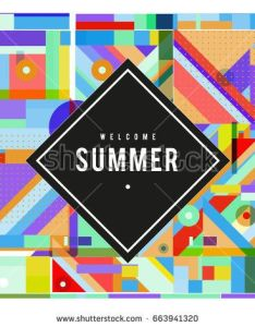 Trendy vector summer cards illustration with elements and abstract colorful textures design for holiday vacation also rh za pinterest