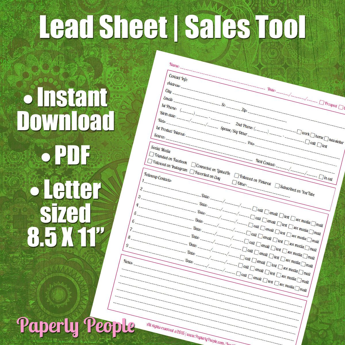 New To Paperlypeople On Etsy Lead Tracking Sheet