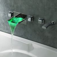 LED Waterfall Wall Mounted Bathroom Bath Filler Mixer Tap ...