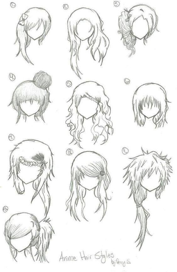 Hairstyles Anime Manga Drawing Art Bun Curly Long Short