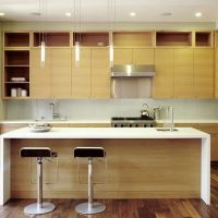 horizontal grain rift cut white oak cabinets with white