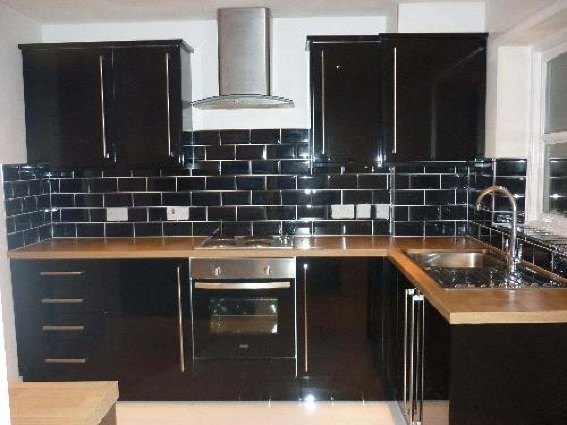 black subway tile kitchen cabinet lights flooring paint ceramic look like stone painting