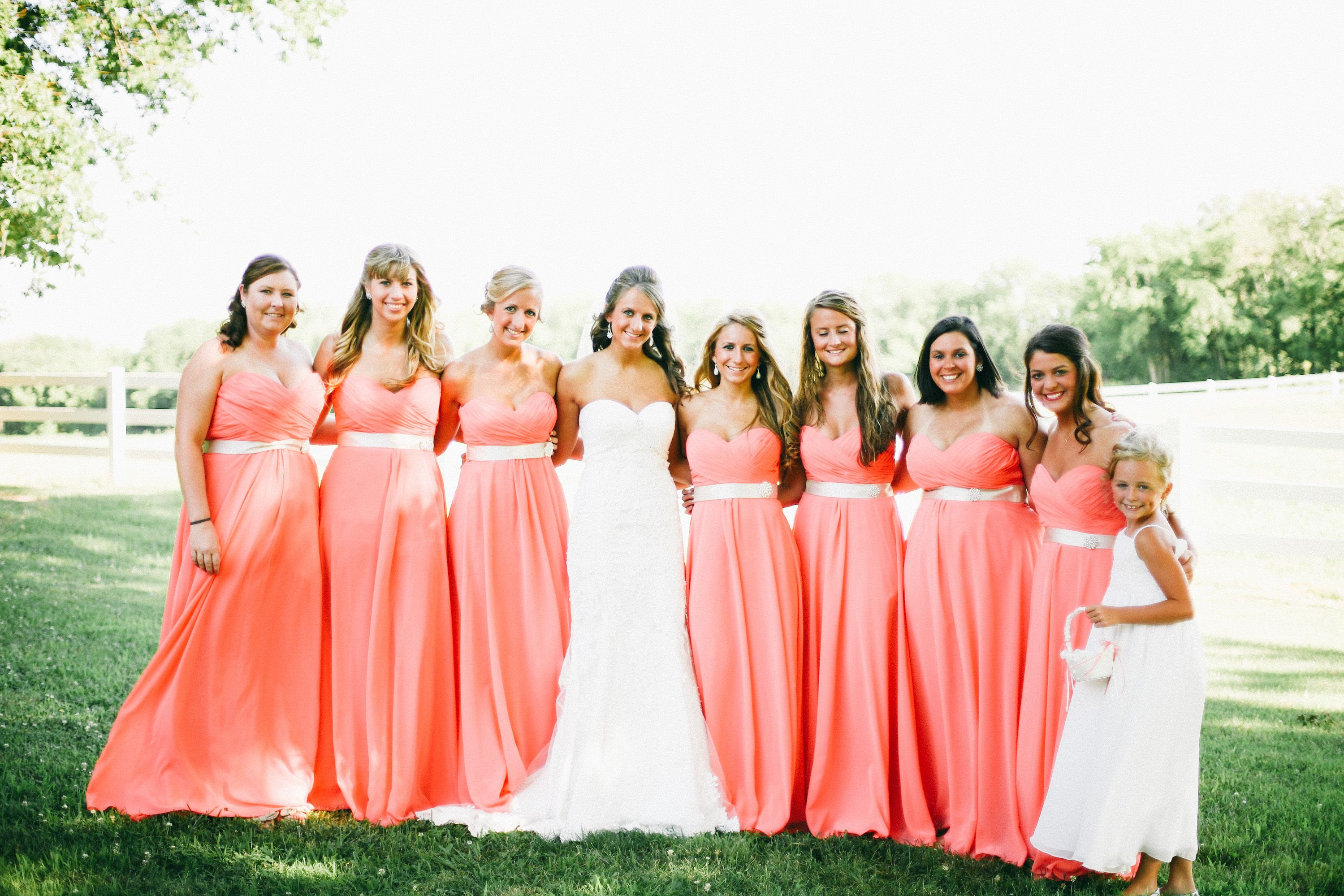 Salmon Colored Bridesmaid Dress