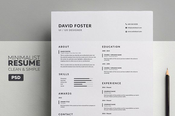 Minimalist Resume CV David By Made By Arslan On