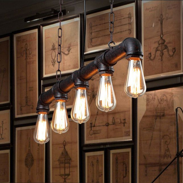 Water Pipe Vintage Pendant Lights For Dining Room Bar Rust Red