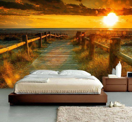 Fotobehang Muurposter Strand met zonsondergang 350 x 260