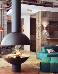 nice round fire place looks unusual the  shaped wooden chair is modern and loft decoratingdecorating ideasinterior also rh za pinterest
