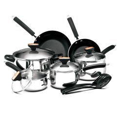 Kitchen Cookware Sets Alternatives To Cabinets Paula Deen Signature Stainless Steel Ii 12 Piece