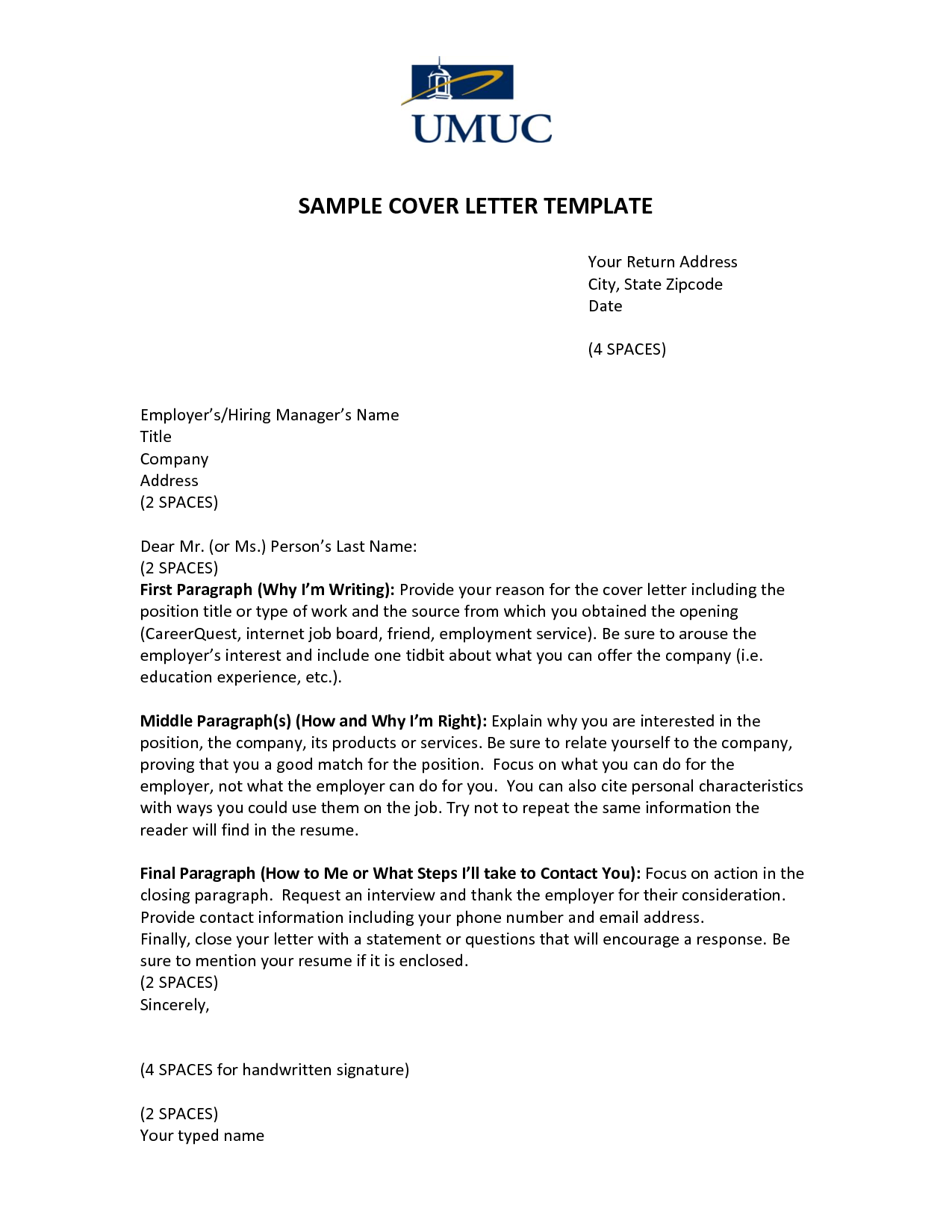 Cover Letter Template For Unsolicited Resume - Resume Examples