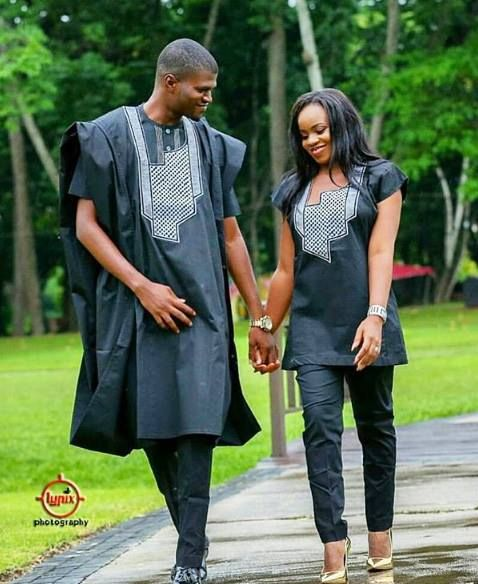 couples in matching aso ebi