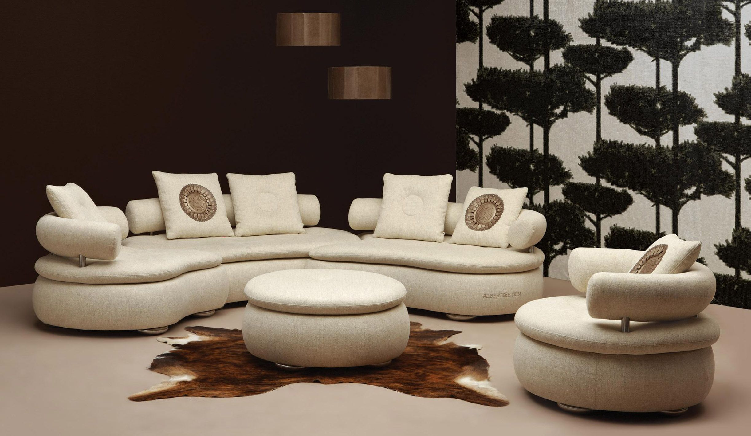 Epic Rounded Sectional Sofa Design In Beige Fabric With Adjustable