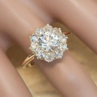 Antique Victorian 14K Yellow Gold Clustered Flower Diamond ...
