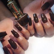 multi shapes of brown acrylic fingernails
