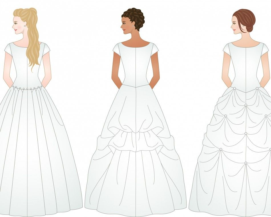 3 Different Examples Of Ways To Bustle A Wedding Dress