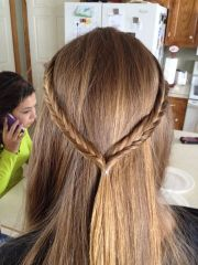 straight hair with fishtail crown