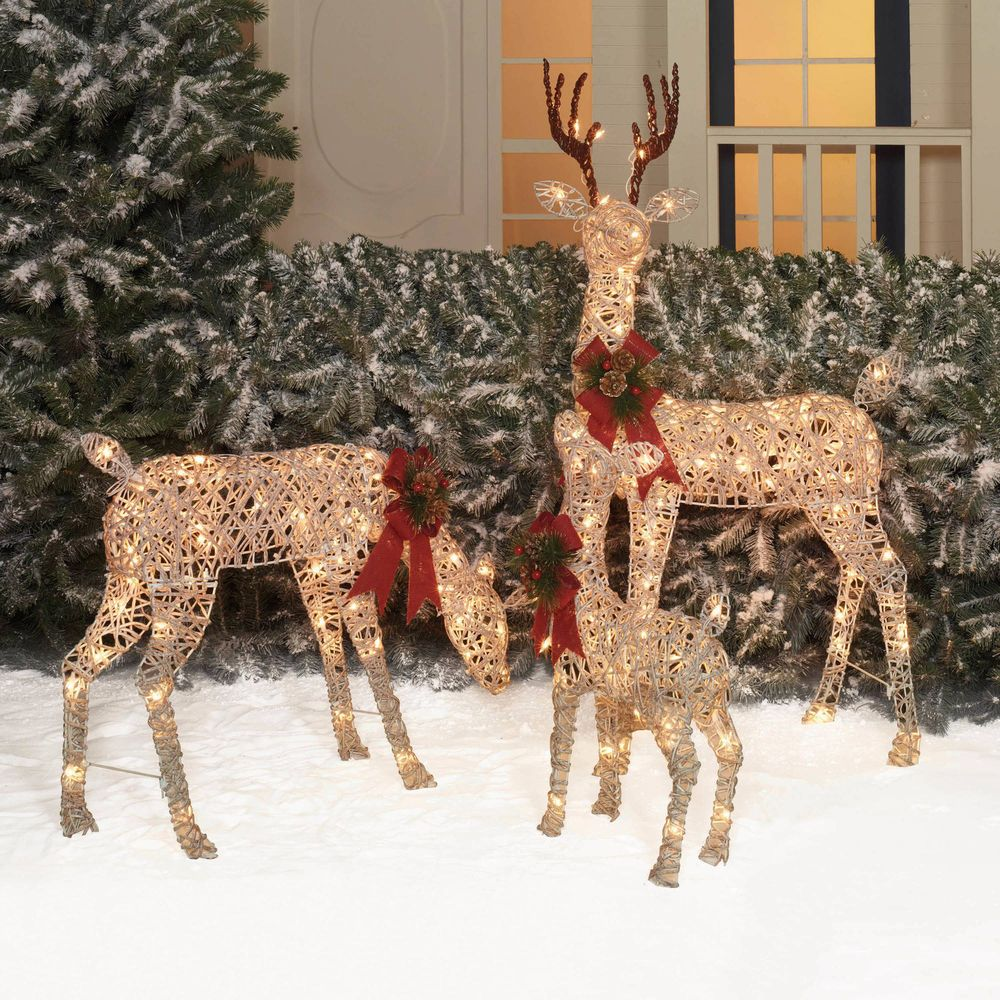 Outdoor Christmas Decoration Set of 3 Vine Deer Xmas Decor
