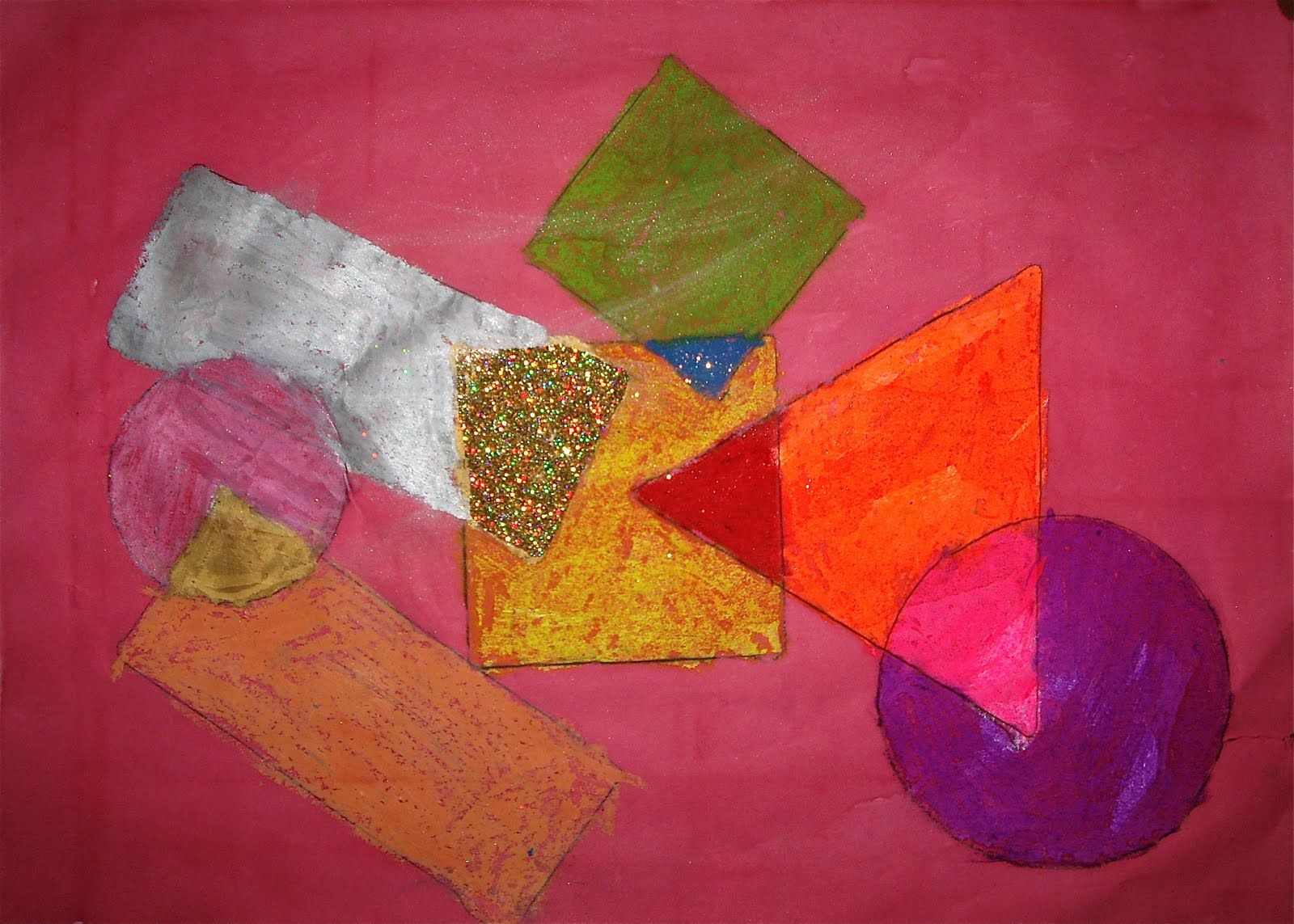Great Abstract Art Lesson Using Shape Color Overlapping And Focal Point