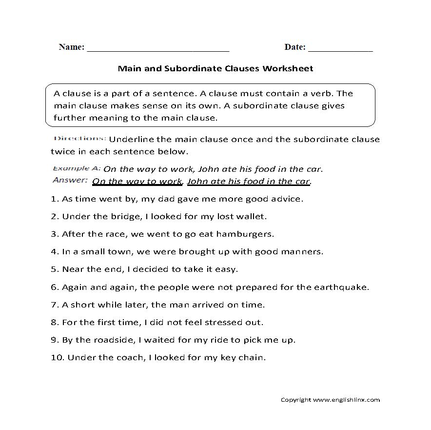 Main and Subordinate Clauses Worksheet