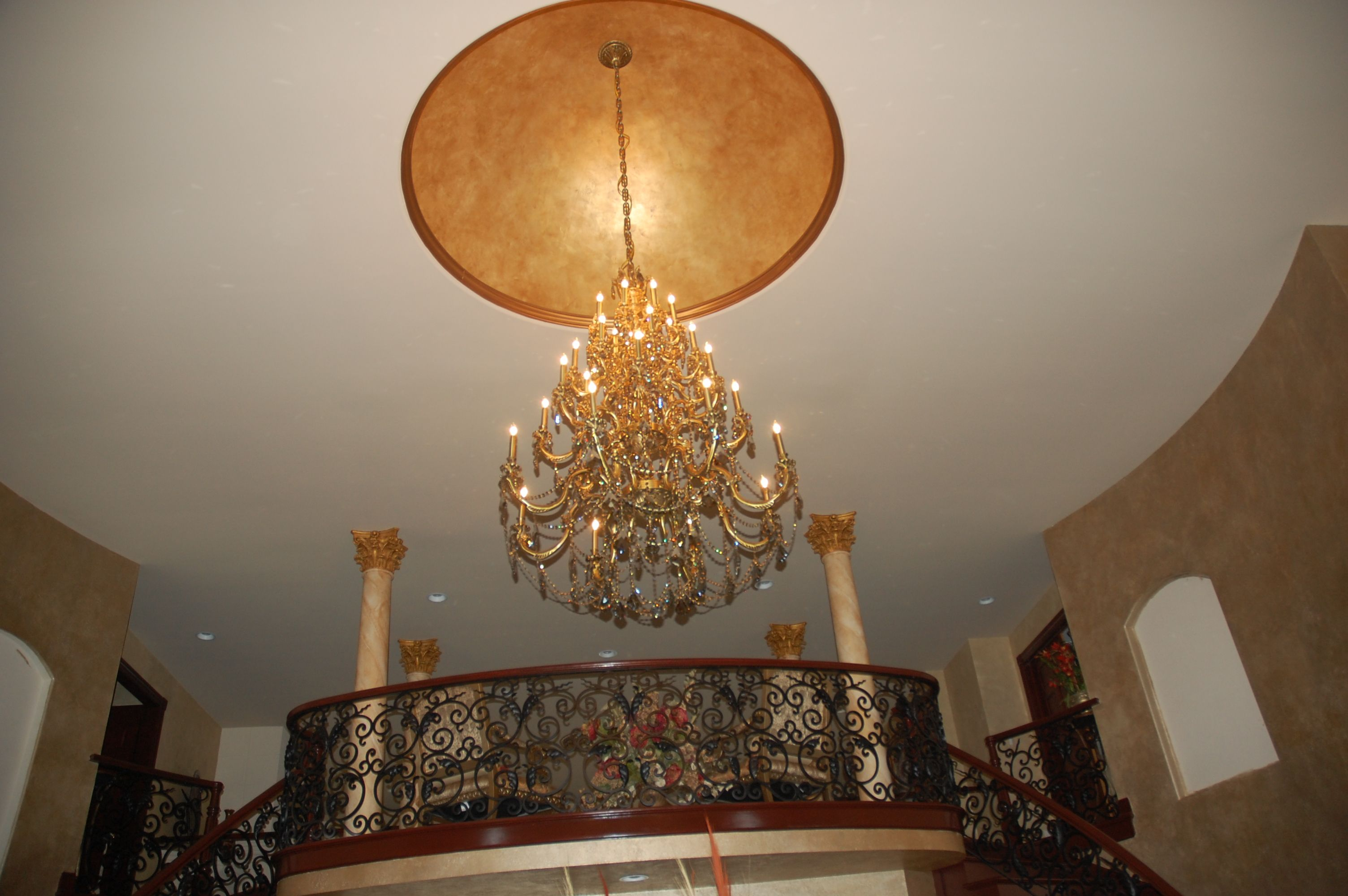 Dome ceiling faux painted with indirect lighting in the