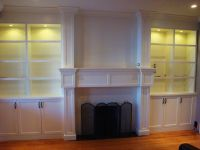 Toronto fireplace built-in with glass-shelving (7 ...