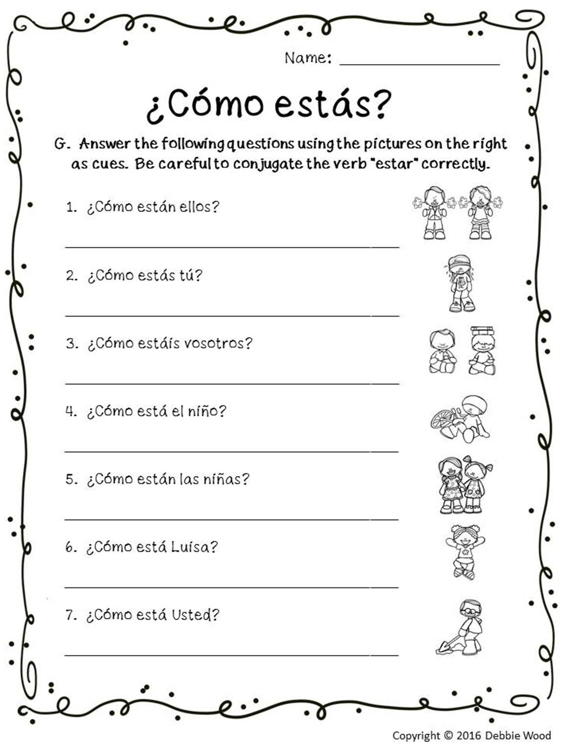 Spanish Verb Estar Worksheets