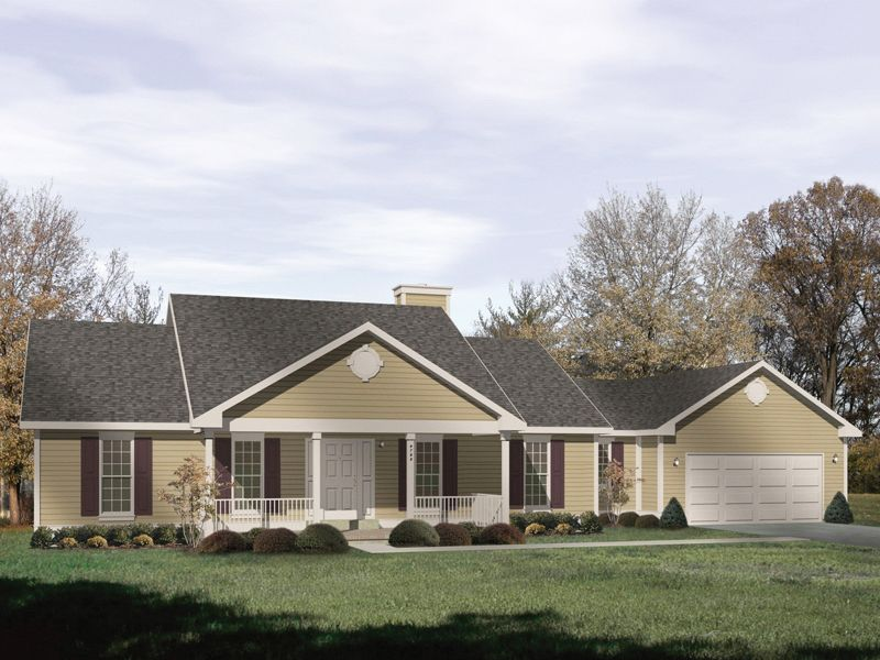 Front Porch On Ranch House Bedford Heights Ranch Home Plan 058D