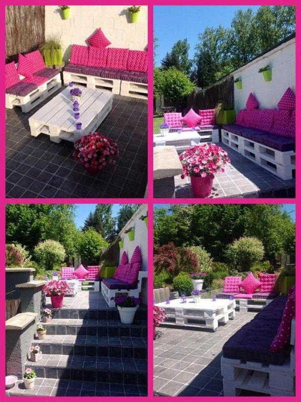 Pink Lounge My Pallets Terrace Gardens Terrace And Garden Pallet