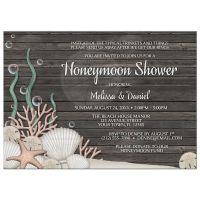 Honeymoon Shower Invitations - Rustic Beach and Wood ...