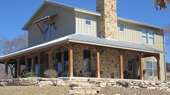 Lovely Metal Ranch Home W Wrap Around Porch In Texas! HQ Plans