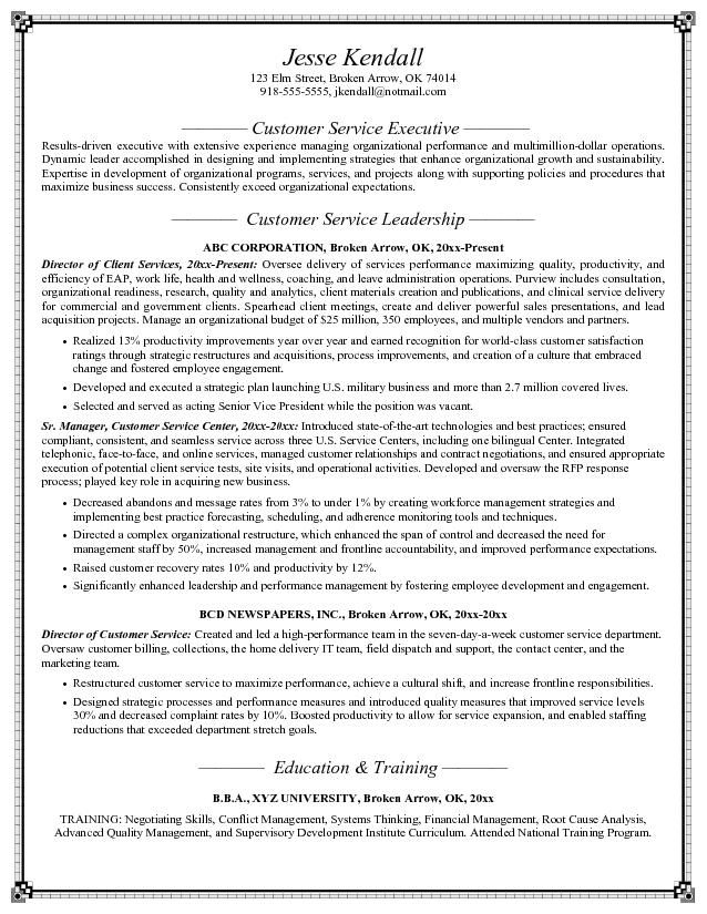 Customer Service Objective Resume Example - Examples of Resumes