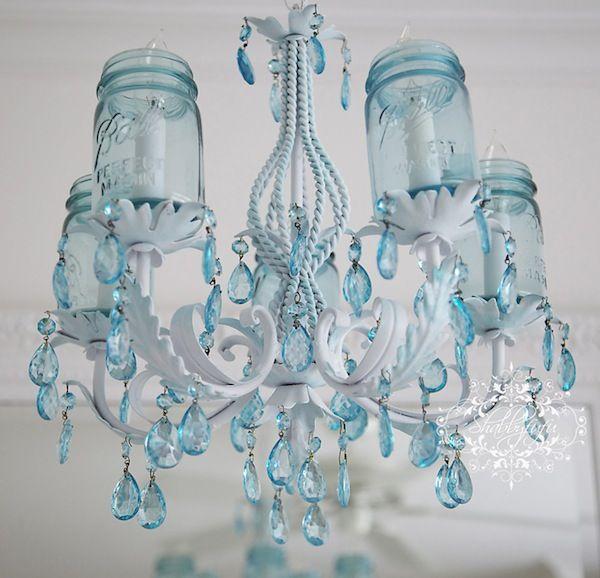 Aqua Inspiration In Spring Decor Mason Jar Chandelierdiy