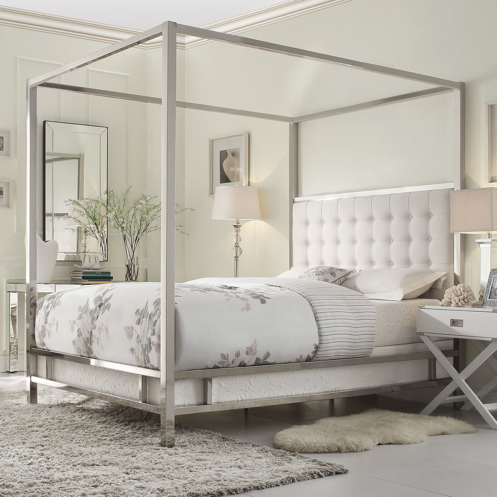 Solivita King Size Canopy Chrome Metal Poster Bed By