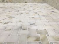 Calacutta Gold Marble Basketweave Mosaic Tile Kitchen