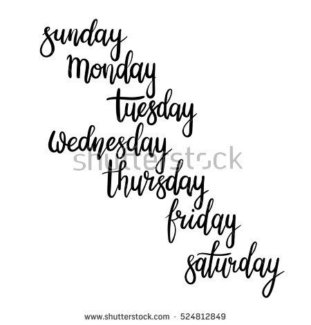 Hand Lettering Days of Week (Sunday, Monday, Tuesday