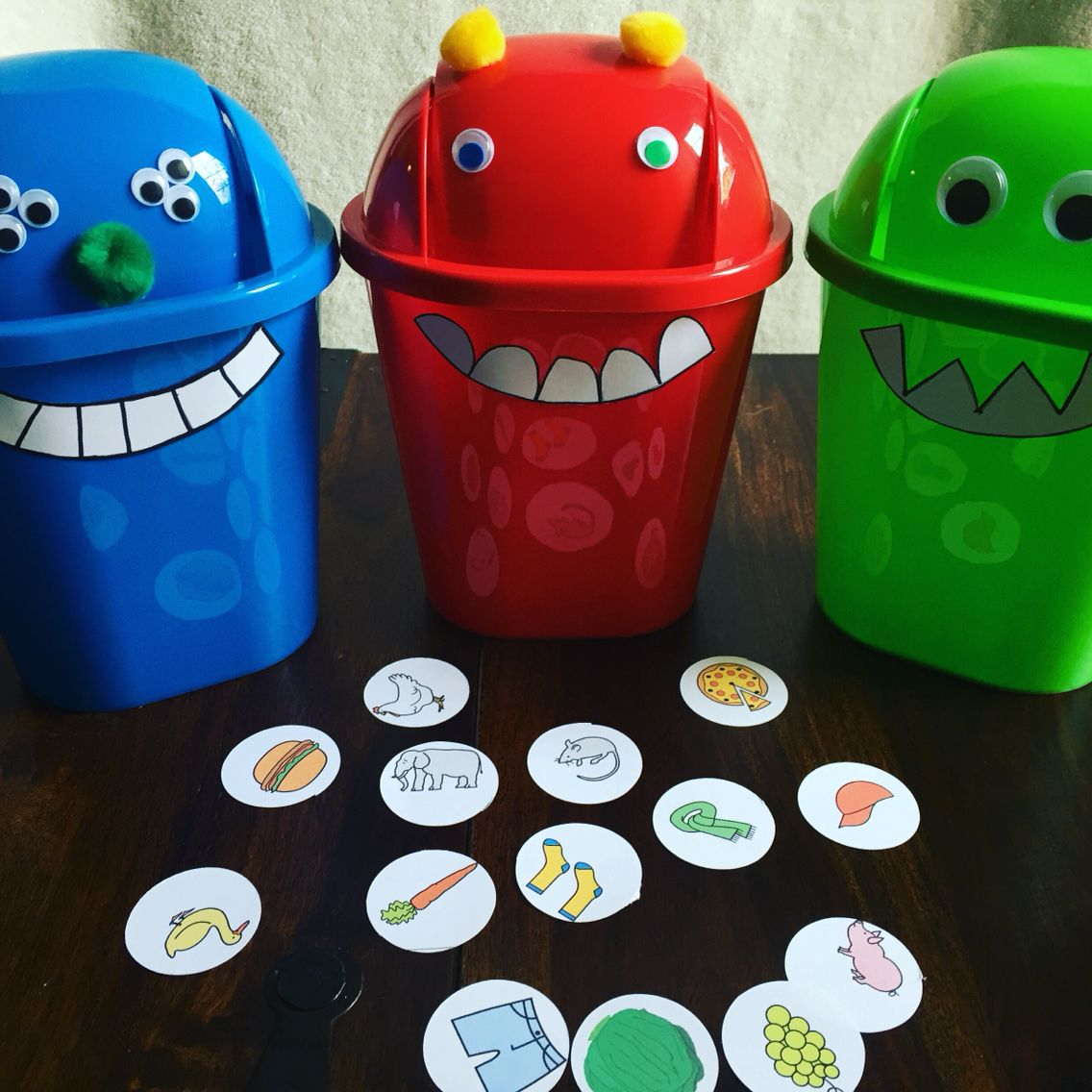 Feed The Monster Language Activity Using Dollar Store Mini Trash Cans And Craft Supplies