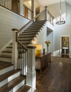 Soft gray shiplap wall paint color benjamin moore moonshine charlie  co design also best images about escaliers on pinterest coins get started and rh