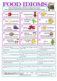 FOOD IDIOMS | ESL worksheets of the day | Pinterest | Food ...