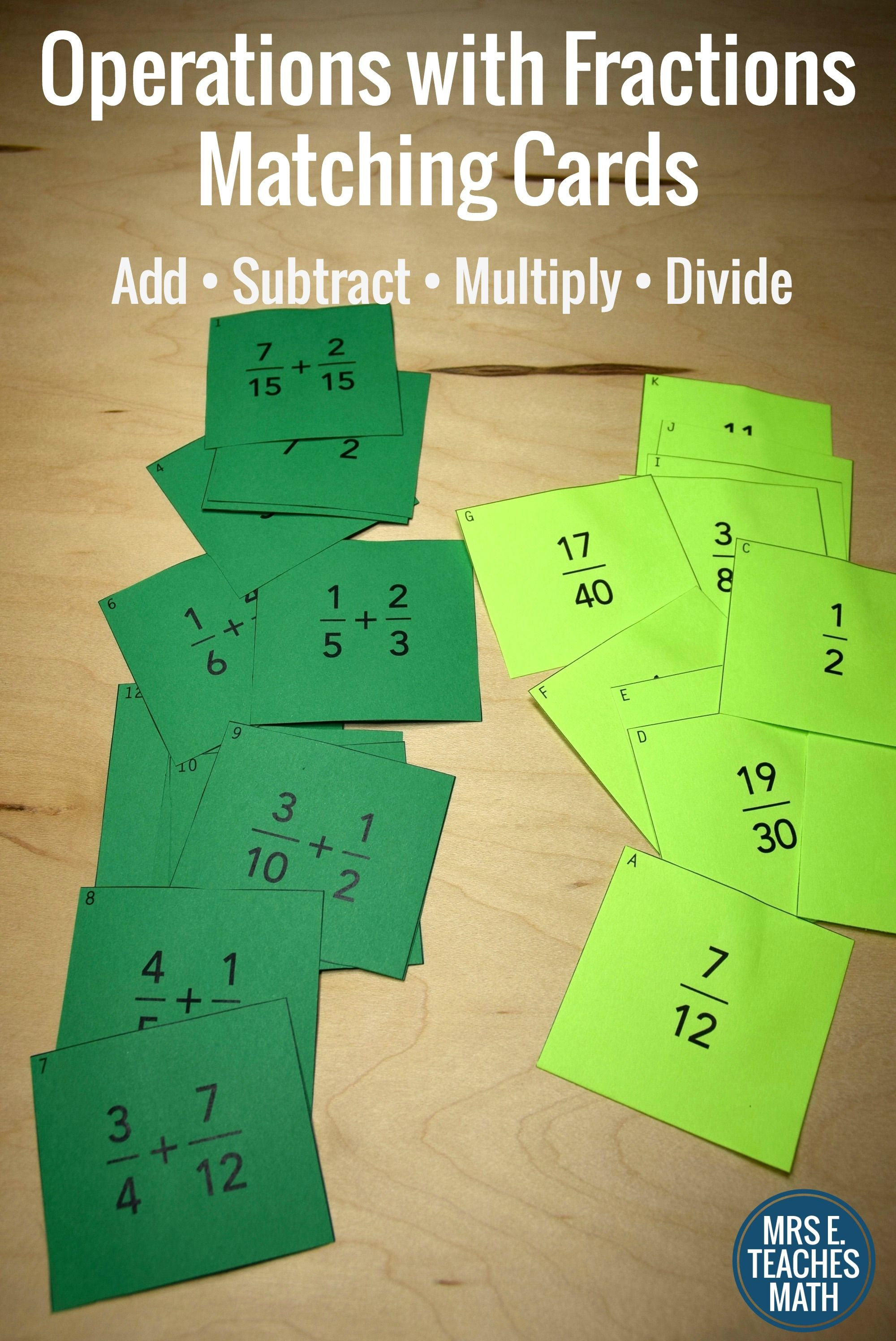 Fraction Operations Card Sort Add Subtract Multiply
