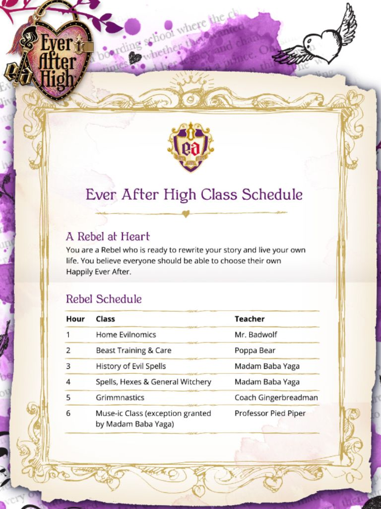 Ever After High Class Schedule Ever After High