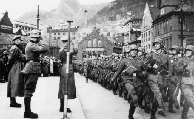 German Troops Marching In Bergen April 9 1940 Nazi