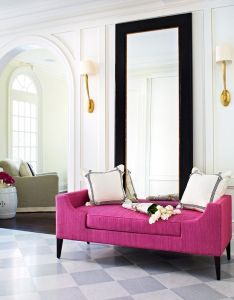 Mcgill design group glamorous foyer with arched doorways and checkered marble floor walls wall love the pink bench also chaise nesting oversized mirrors pinterest toronto canada rh