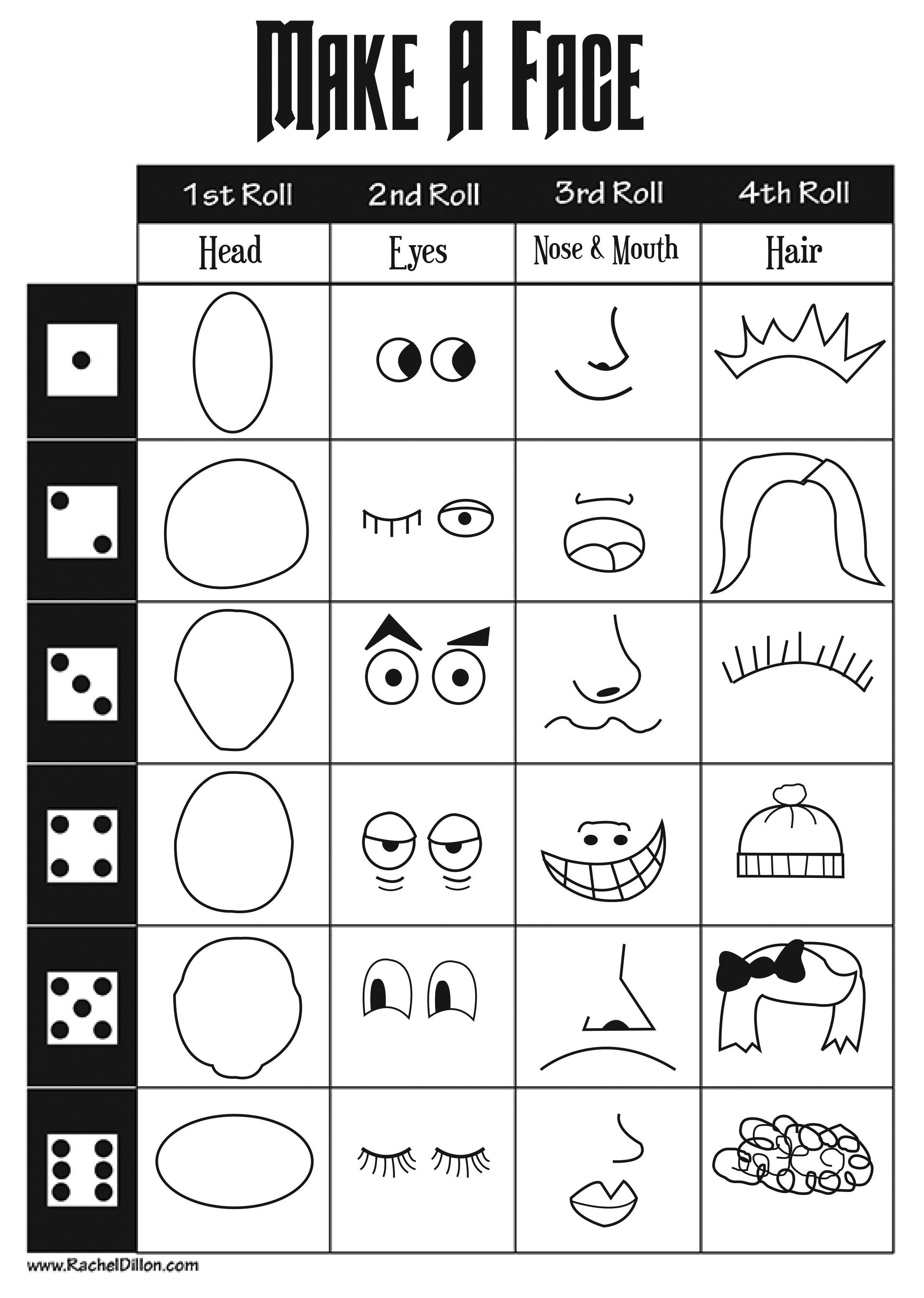 Make A Face Dice Game For Kids To Do This Is Great To