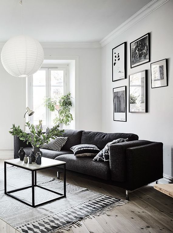 Living room in black, white and gray with nice Gallery
