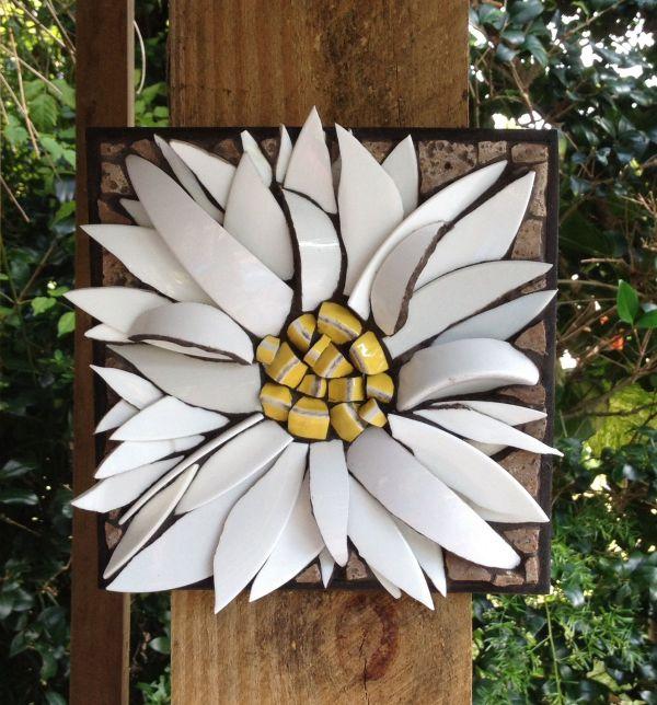 "3d Daisy Flower Mosaic 8""x8"" Nikki Murray-mason"
