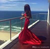2017 Mermaid Prom Dresses Red Satin Sexy V Neck Bodycon ...