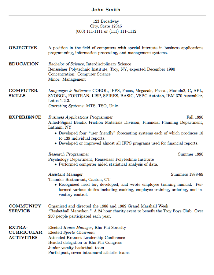 Resume For Graduate School Template Sample Resume For Graduate