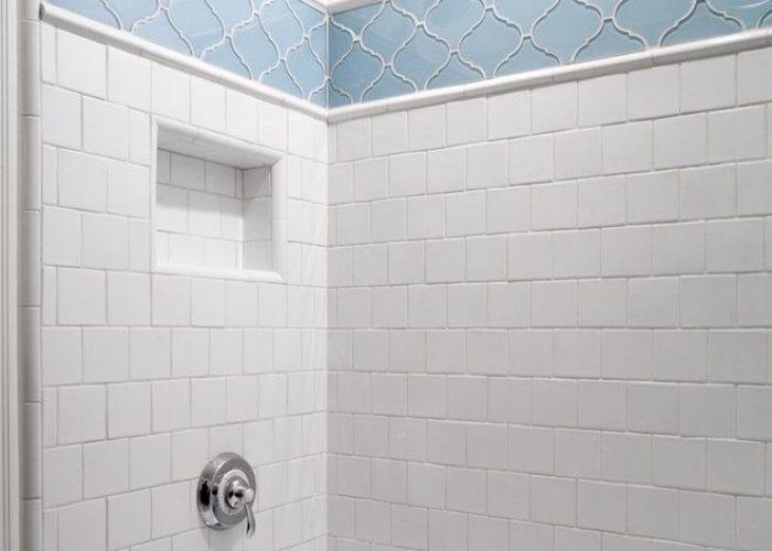 Good looking arabesque tile in bathroom contemporary with next to separate shower and tub alongside also