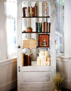Future house also sweet old door as decoration and shelving repurposed things rh in pinterest